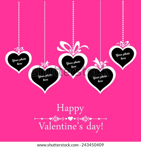 Valentine's day card. Celebration pink background with heart and place for your text.  Photo frame. Vector Illustration  - stock vector