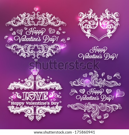 Valentine's day card concept. Vector vintage baroque engraving floral scroll filigree design. - stock vector