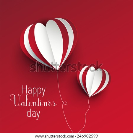 Valentine's day card concept with three dimensional heart shapes | Love card - stock vector