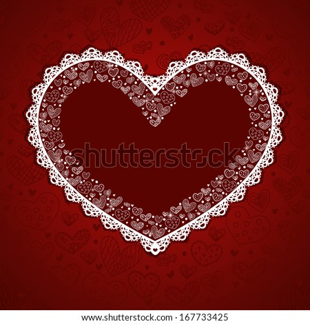 Valentine's day card. Greeting card with hearts and place for your text.  - stock vector