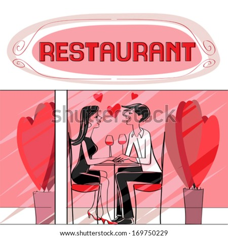 Valentine's Day card, hand drawn illustration of two lovers dining at the restaurant, talking and drinking wine - stock vector