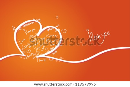 Valentine's Day card in hand drown style - stock vector