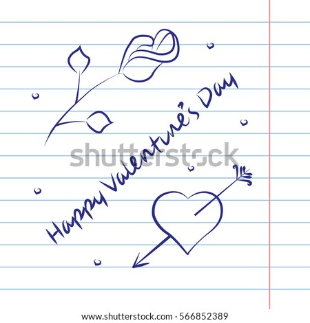 Valentine's Day card on exercise book effect background. Vector illustration eps 10