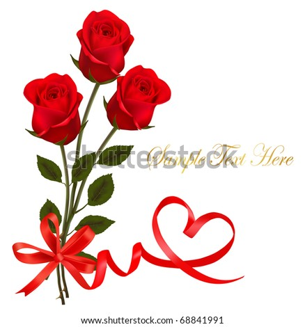 Valentine`s day card. Red roses and gift red bow. Vector.