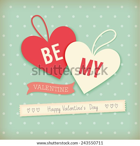 Valentine`s day card - scrapbook style. - stock vector