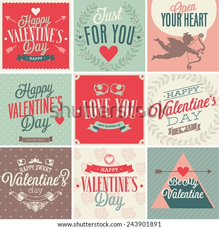 Valentine`s day card set. Vector illustration. - stock vector