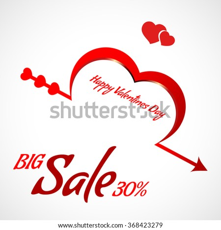 Valentine's Day card, special offer banner, big sale poster. design with place for text. Heart discount voucher template. Up to 30% off.  isolated on white background.  - stock vector
