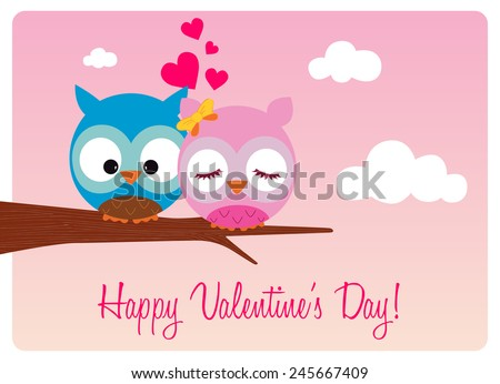 valentine's day card, sweet pair of owls in love