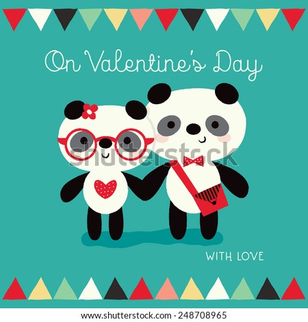 Valentine's Day card template with cute hipster pandas on mint green background. Border with multi-colored bunting flags. Great for poster, menu, party invitations, social media, web banner.