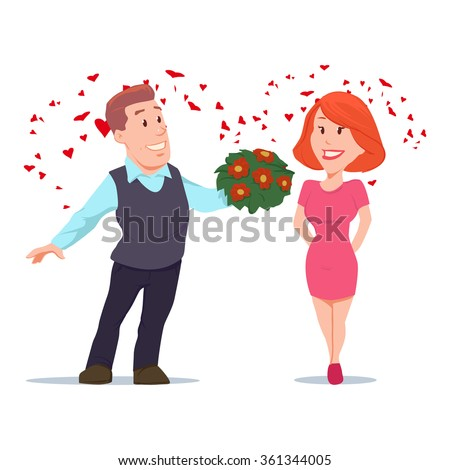 Valentine's Day card, vector illustration, happy couple, love, cartoon characters, romantic date, man giving flowers  - stock vector