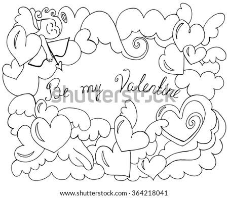 Valentine's Day card with angel and hearts. Vector sketch illustration, romantic background.  - stock vector