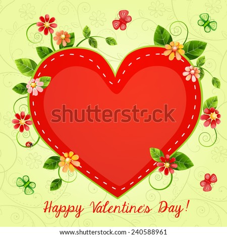 Valentines Day Card Beautiful Flowers Vector 124460482 – Beautiful Valentines Day Cards