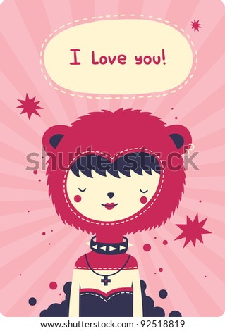 Valentine's day card with cute girl - stock vector