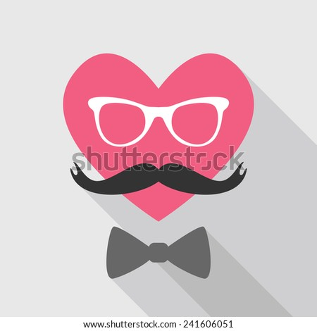 Valentine's Day Card - with Heart Face Mustache - in vector