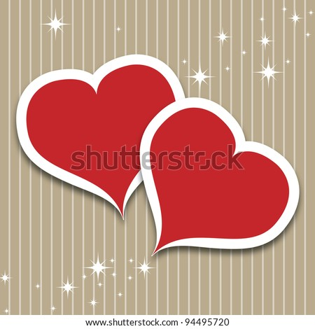 Valentine`s Day card with hearts - stock vector