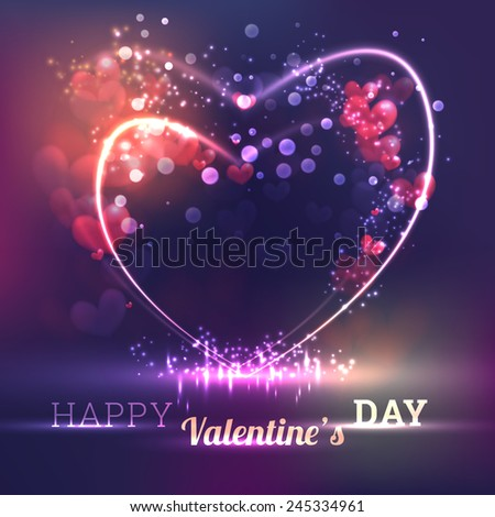 Valentine`s Day Card With Hearts, Lights And Blurs - stock vector