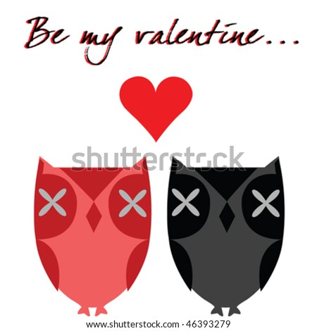 Valentine's day card with owls - stock vector