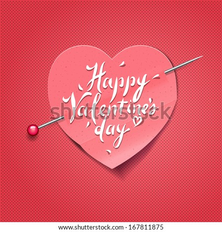 Valentine's Day card with paper heart shaped, vector image