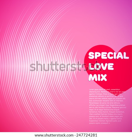 Valentine's Day card with pink vinyl tracks and red heart - stock vector