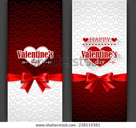 Valentine's Day card with red bow. Vector illustration - stock vector