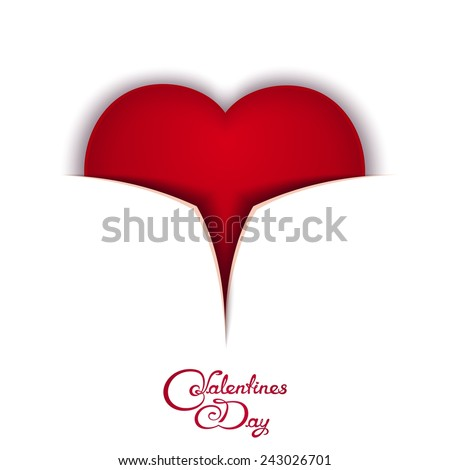 Valentine's Day card with red heart and calligraphy lettering - Valentine's Day. 3D imitation ajar box - stock vector