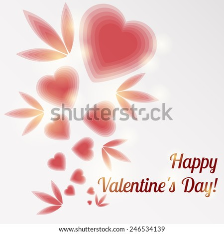 Valentine's Day card with red hearts and the inscription - Happy Valentines Day - stock vector