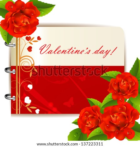 Valentine`s day card with red roses