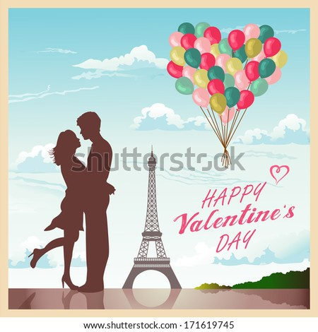 Valentine's day card with romantic couple in Paris background - stock vector