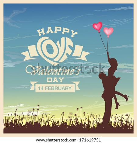 Valentine's day card with romantic couple vector background - stock vector
