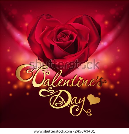 valentine's day card with rose - stock vector