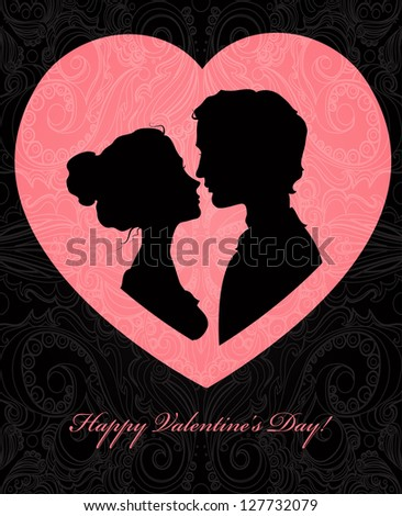 Valentine's day card with silhouettes of loving couple - stock vector