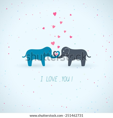 Valentine's Day card with two cute elephants - stock vector