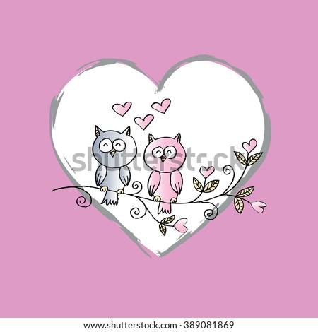 Valentine's Day Card with Two Owls in Love. Hand drawing illustration. - stock vector