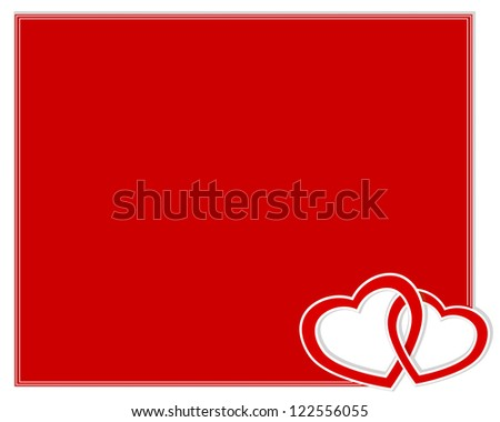 Valentine's day card with two paper hearts entwined. Vector illustration.