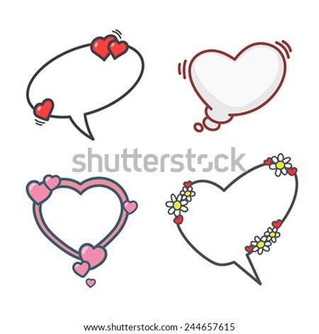 Valentine's day cartoon elements set, speech bubbles, flowers and hearts. Vector  illustration, easy editable. - stock vector