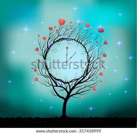 Valentine`s day clock, Valentine`s day fairytale, fairy love clock, vector, - stock vector