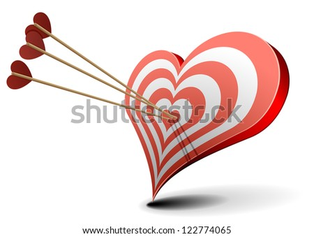 valentine's day concept, arrows hitting a heart shaped target - stock vector