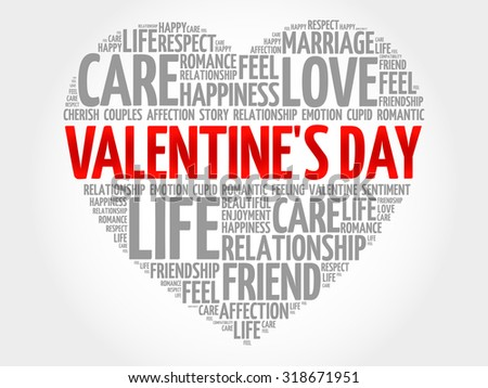 Valentine's Day concept heart word cloud - stock vector