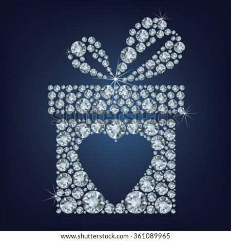 Valentine's day concept illustration of gift present with heart symbol made up a lot of diamonds on the black background