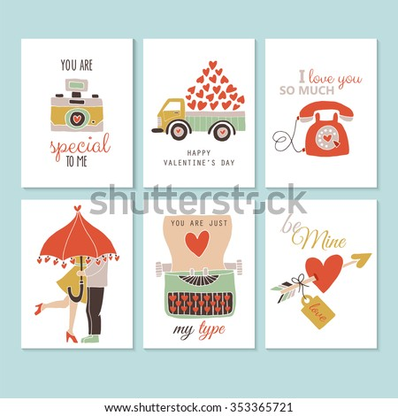 Valentine's day creative hand drawing greeting card set. Isolated vector illustration - stock vector