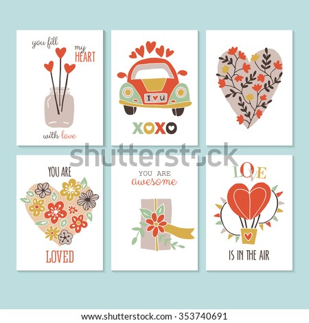 Valentine's day creative hand sketched greeting card set. Isolated vector illustration - stock vector