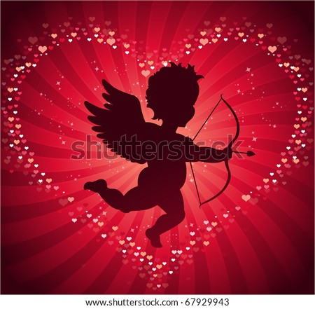 Valentine's day cupid background - stock vector