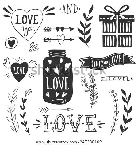 Valentine's day design elements. EPS 10. - stock vector