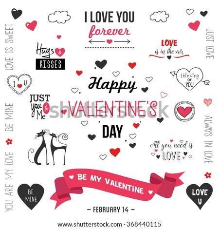 Valentine`s day  design set .Vector illustration - stock vector