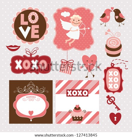 Valentine's Day elements - stock vector