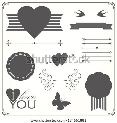 Valentine's day elements collection - stock vector