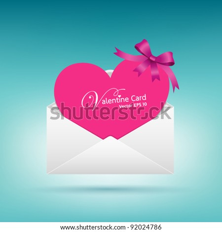 Valentine's day envelope letter pink heart card, vector illustration - stock vector