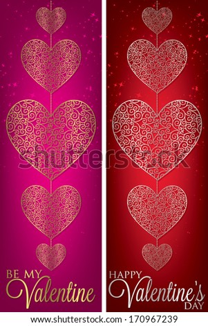 Valentine's Day filigree banners in vector format. - stock vector