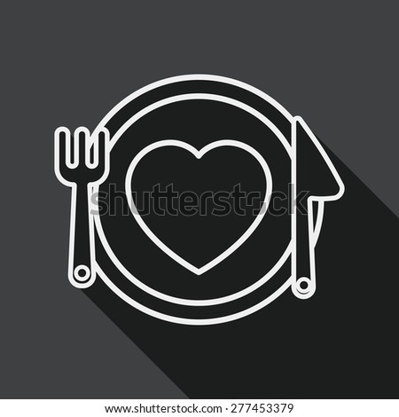 Valentine's Day flat icon with long shadow, line icon - stock vector