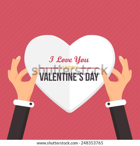 Valentine's Day Flat Vector Design. Hand Hold Heart. Announcement and Celebration Message Poster, Flyer  - stock vector